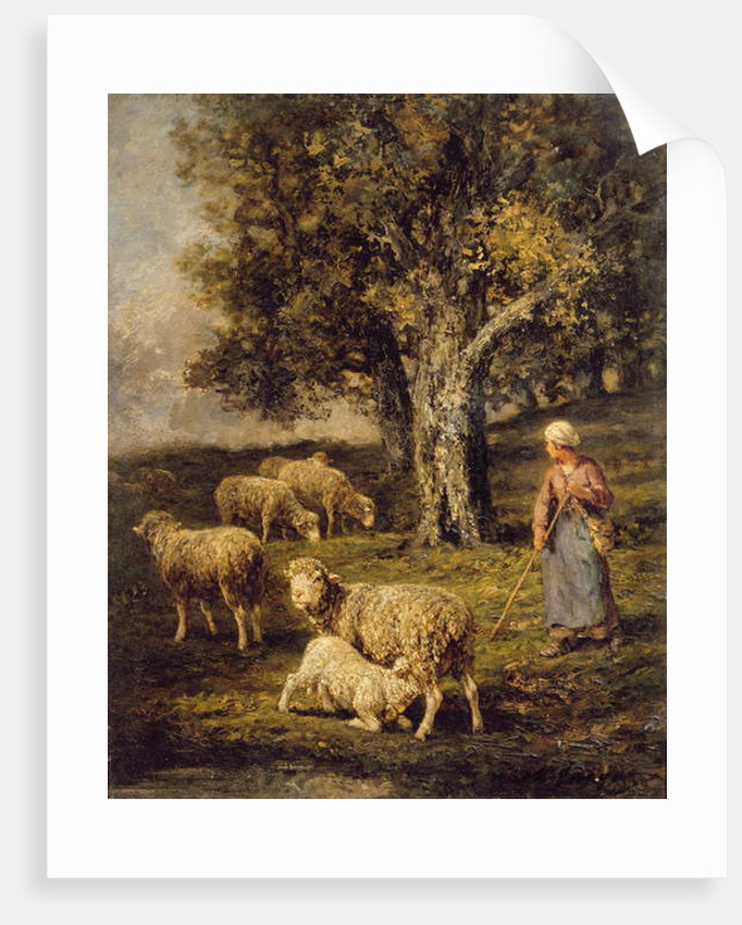 A Shepherdess and Sheep in a Barbizon Landscape by Charles Emile Jacque