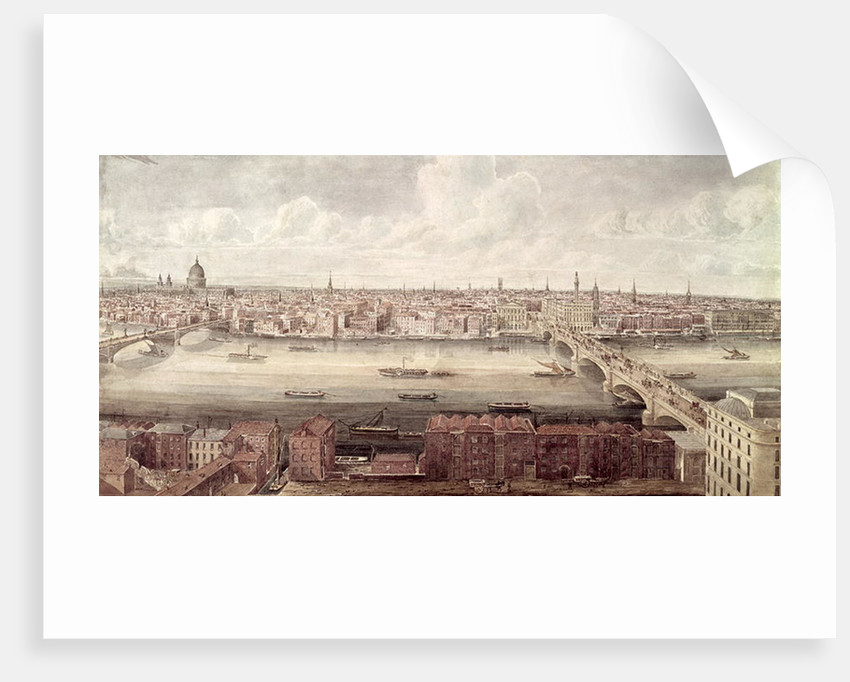 Panoramic view of London looking north between Southwark Bridge and London Bridge, c.1831 by Gideon Yates