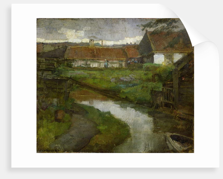 Farmstead and Irrigation Ditch with Prow of Rowboat, 1898-99 by Piet Mondrian