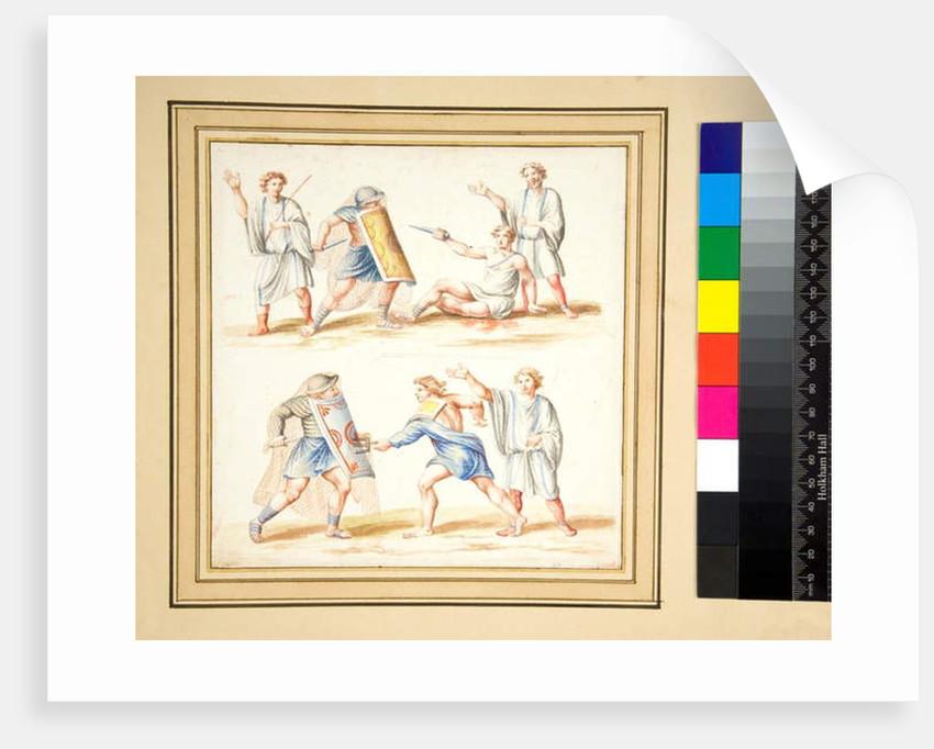 Copy of a mosaic of a Fight between a secutor and a retiariu by Pietro Santi Bartoli