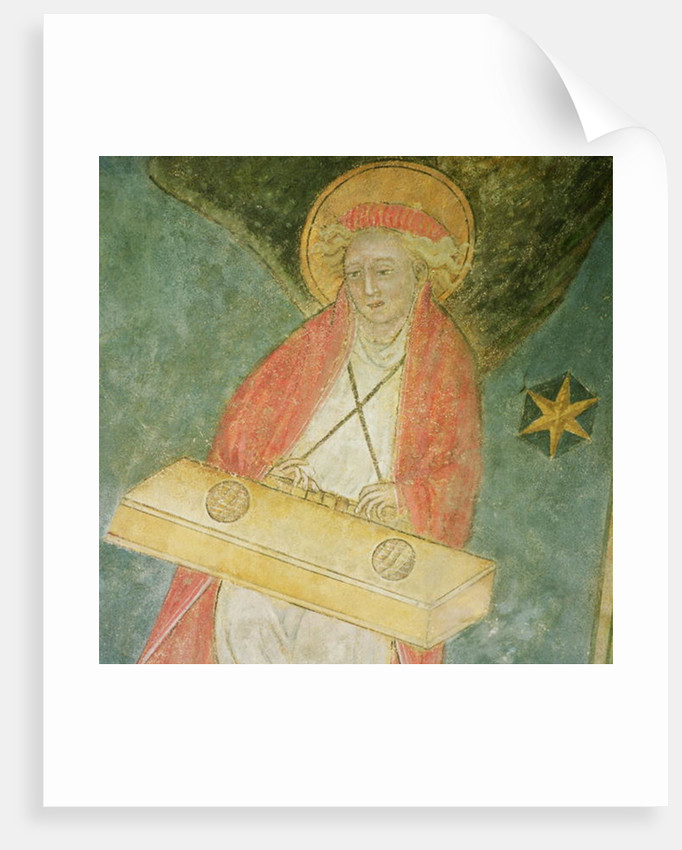 Angel playing a clavichord by French School