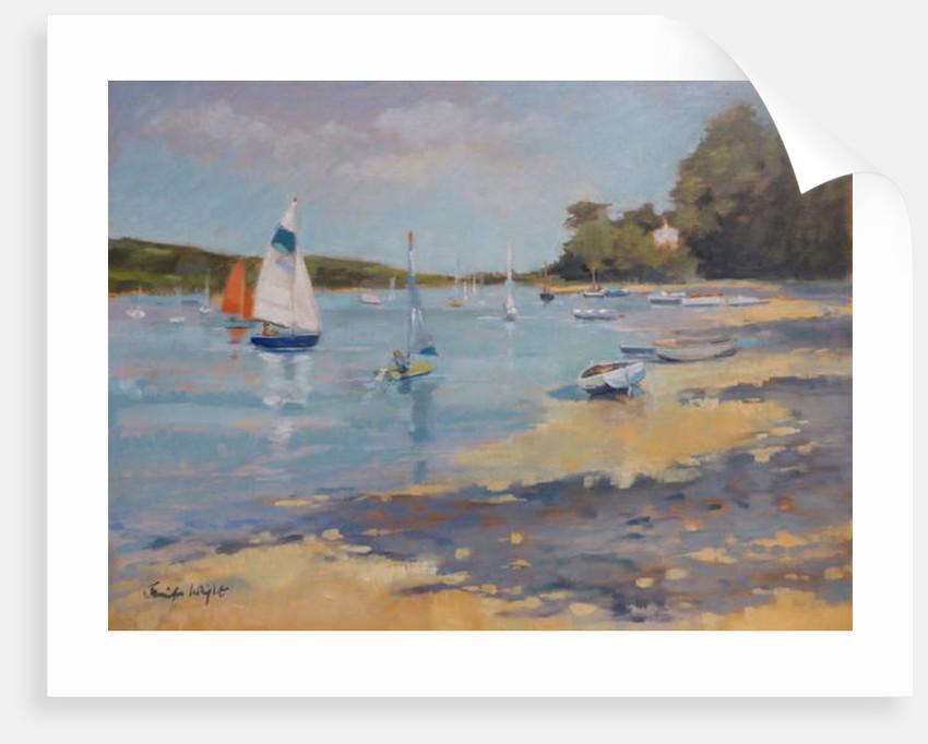 Salcombe, Red Sail by Jennifer Wright