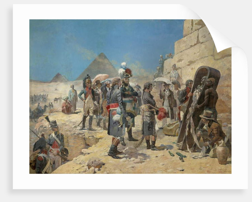 Napoleon Bonaparte in front of the pyramids contemplating the mummy of a king in the countryside of Egypt by Maurice Henri Orange