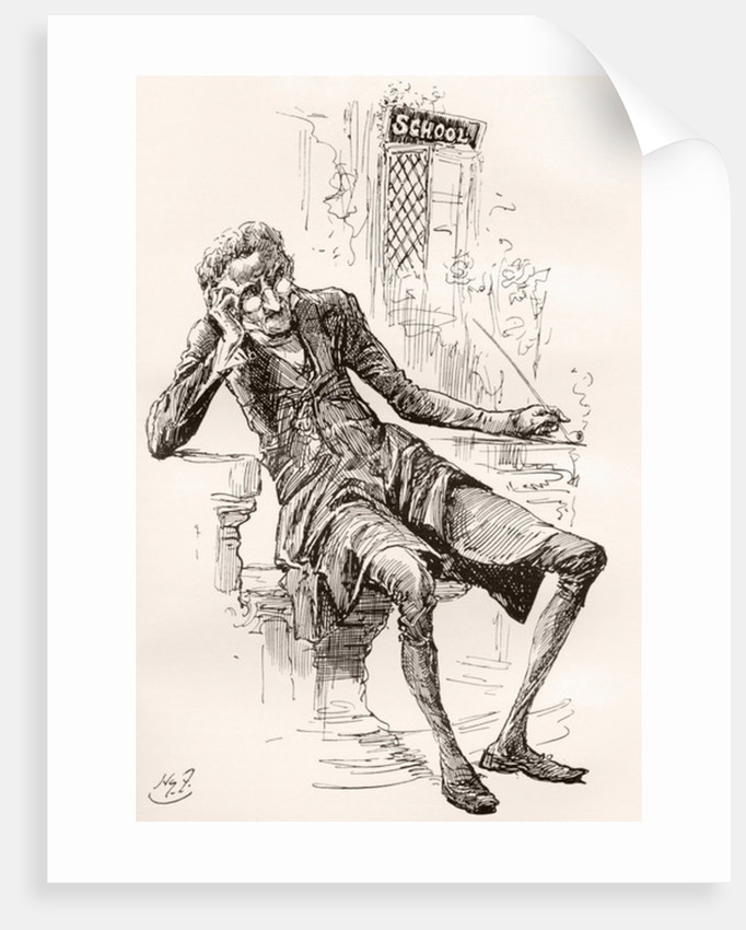 """The Schoolmaster. He was a pale, simple looking man, of a spare and meagre habit, and sat smoking his pipe in the little porch before his door."""" Illustration by Harry Furniss for the Charles Dickens novel The Old Curiosity Shop by Anonymous"""