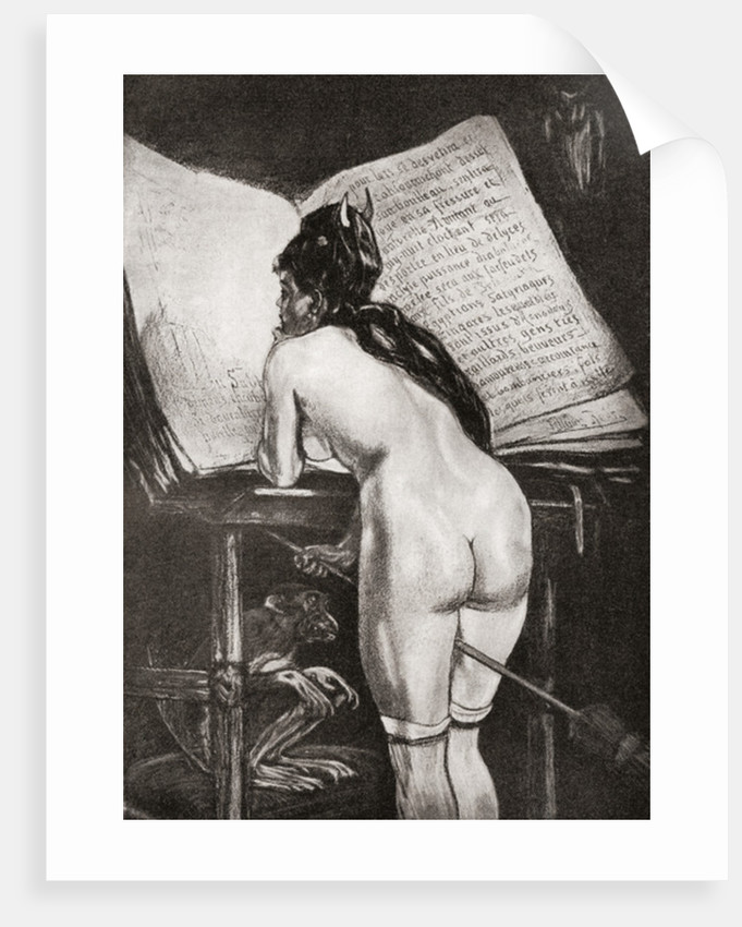 A witch reading her magic book, after a work by Felicien Rops by Anonymous