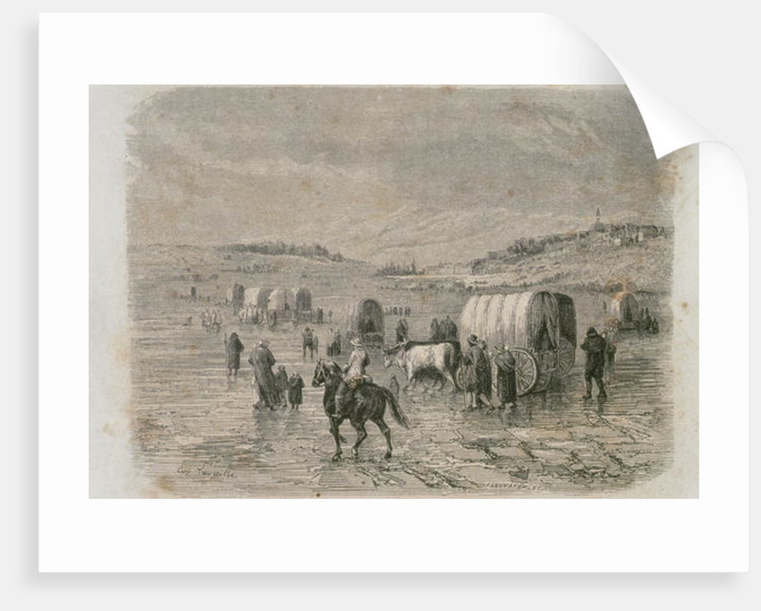 A Wagon Train Heading West in the 1860s by Eugene Antoine Samuel Lavieille