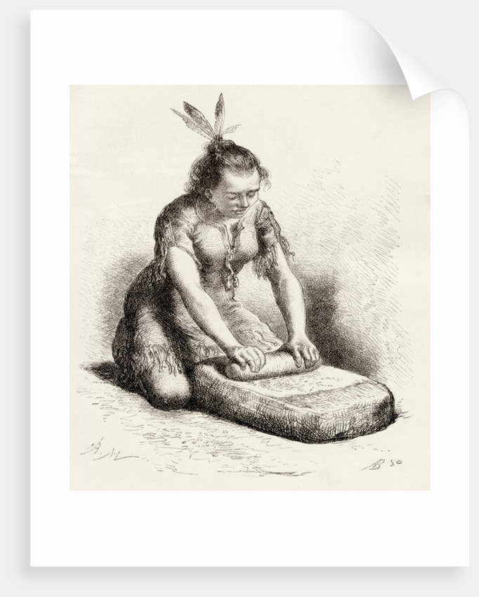 A native Guayan woman crushing grain by Spanish School