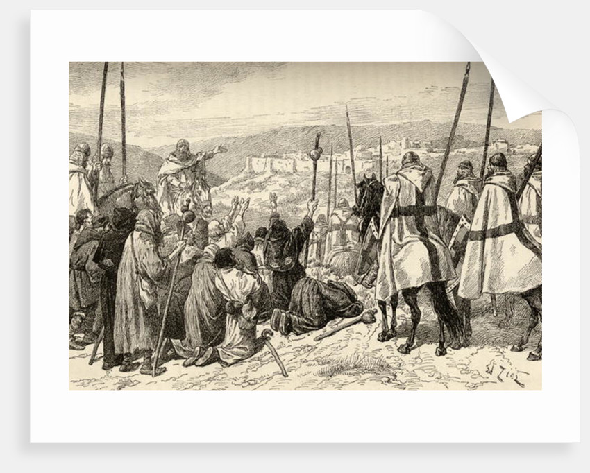 Pilgrims under escort of Knights Templar in front of Jerusalem in the 12th century by English School