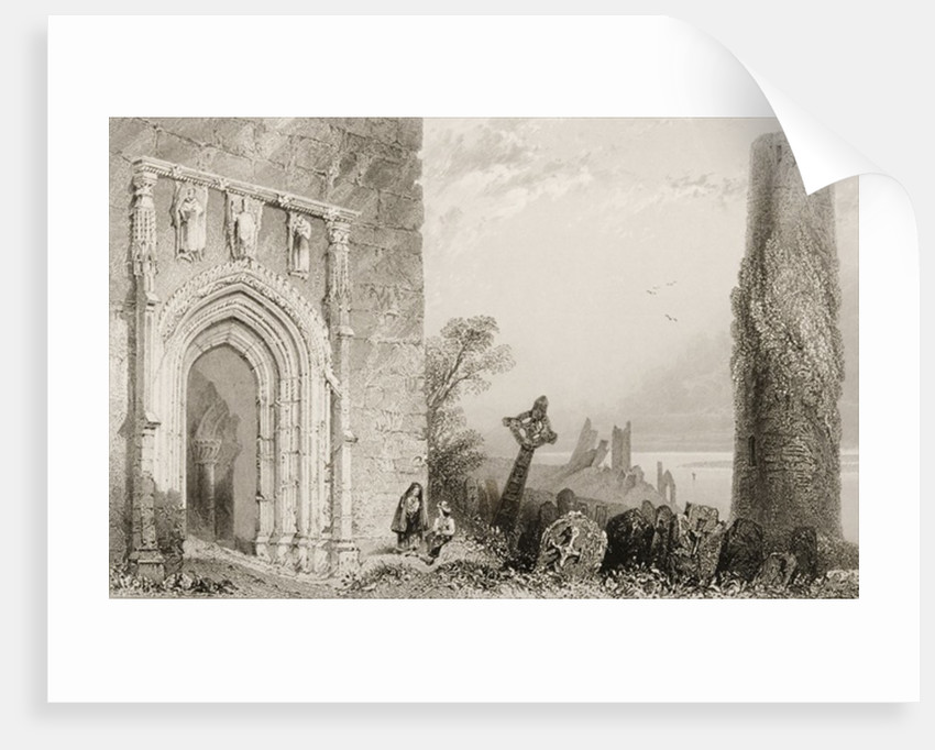 Doorway to a Temple, Clonmacnois, County Offaly, Ireland by William Henry Bartlett
