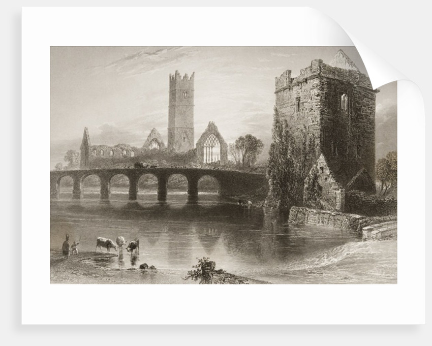 Clare Abbey, County Clare, Ireland by William Henry Bartlett