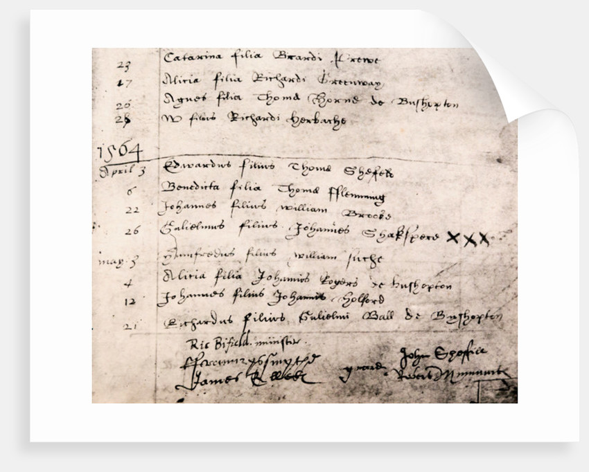 Facsimile register entry for baptism of William Shakespeare on April 26 by English School