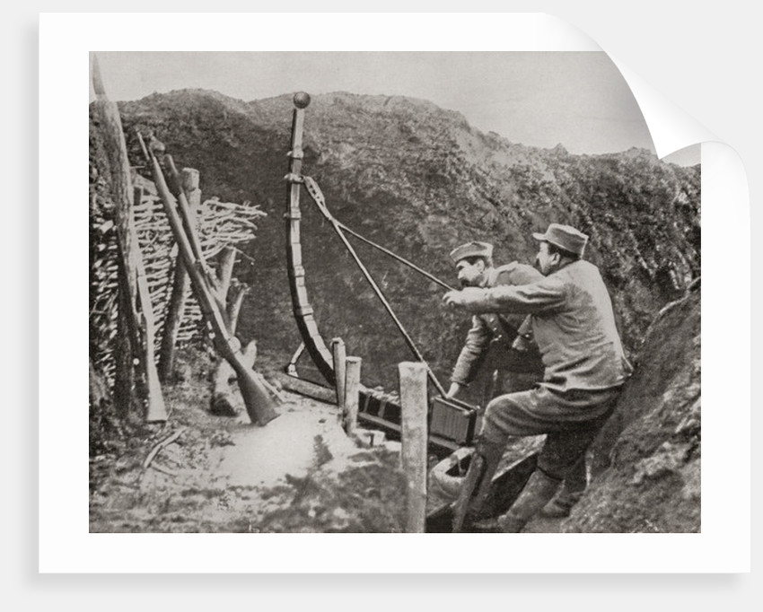 French soldiers using a catapult for flinging bombs during World War One by French Photographer