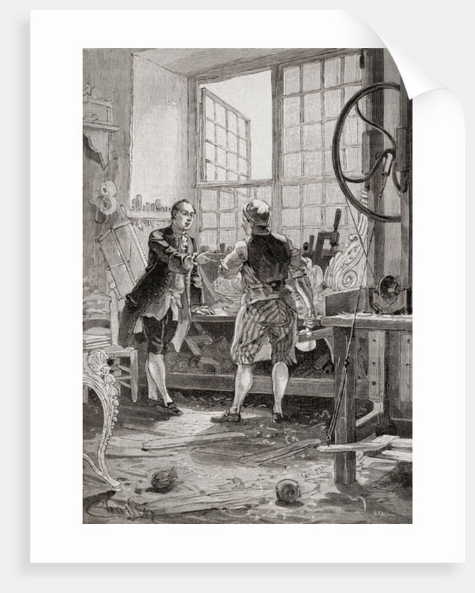 A carpenter and his client in an 18th century French carpenter's workshop by French School