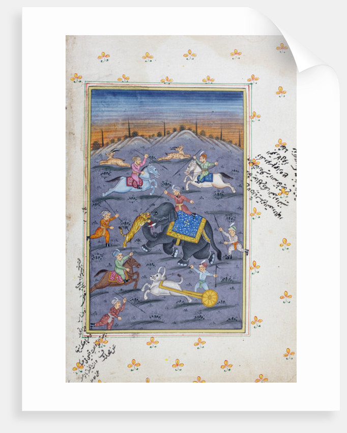 Hunting scene, Rajasthani miniature painting by Indian School