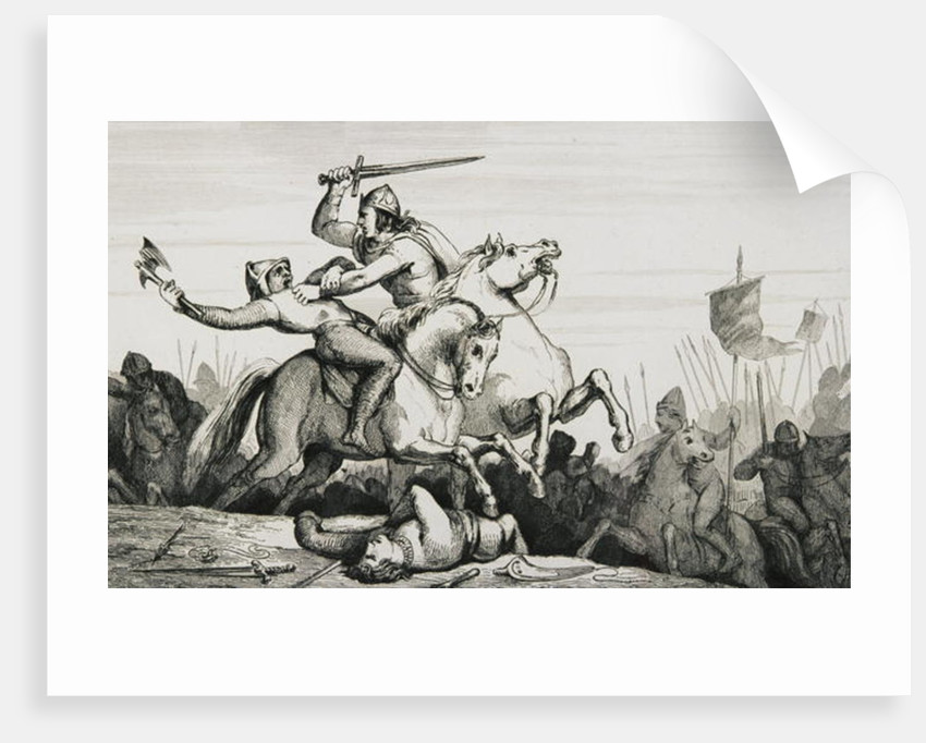 Eudes (860-98) in battle against the Normans by French School