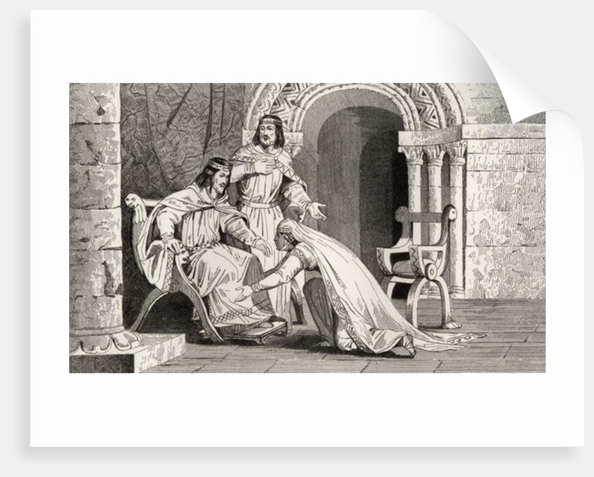 Emme kisses the knee of her husband Raoul (d.936) in recognition of his sovereignty by French School