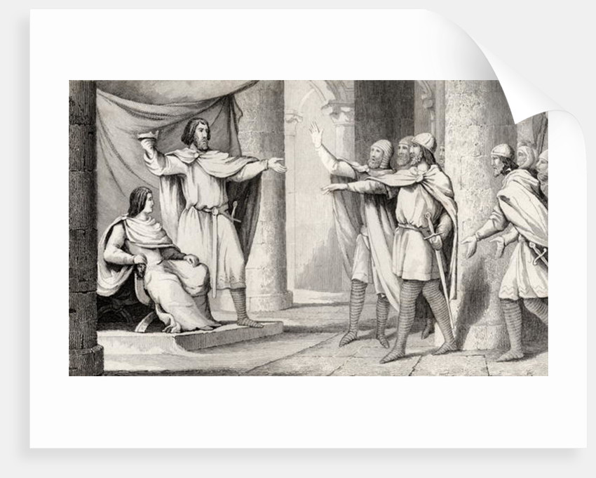 Louis V (967-87) the Loafer shows his crown to his followers by French School