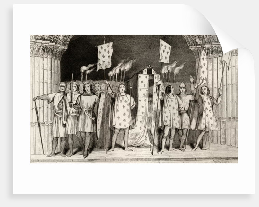 The dead infant Jean I the Posthumous proclaimed King at his funeral by French School