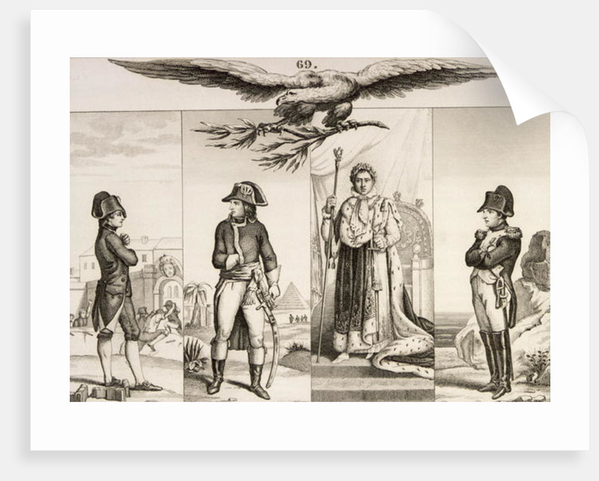 Napoleon Bonaparte at four stages in his life by French School