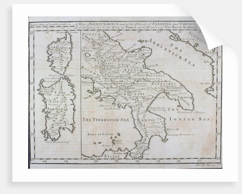 Map Of Southern Italy Corsica And Sardinia Known In Ancient Times