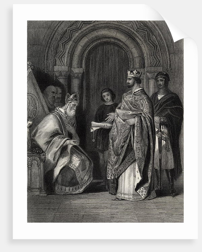 Henry II presenting the Pope's Bull to the Archbishop of Cashel, engraved by G. Greatbach by Henry Warren