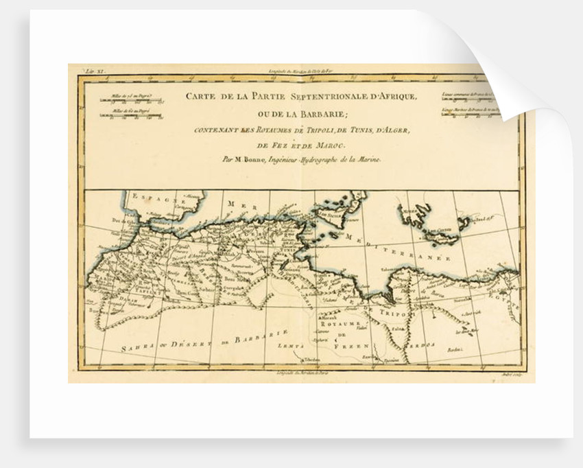 North Africa, including the Kingdoms of Tripoli, Tunis, Alger; Fez and Morocco by Charles Marie Rigobert Bonne