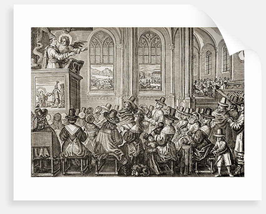 Oliver Cromwell preaching to a Puritan congregation by English School