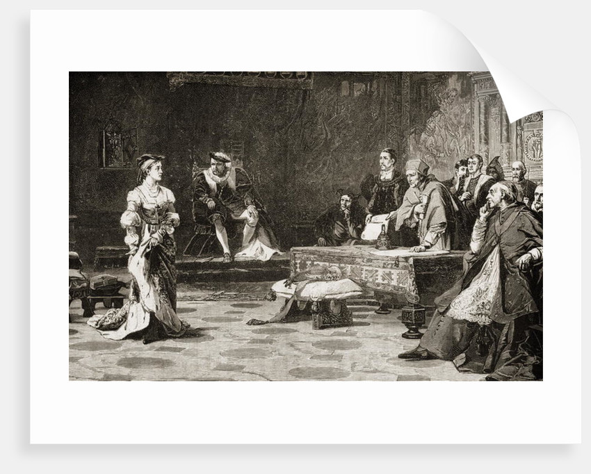 The first trial of Catherine of Aragon in 1529 by English School