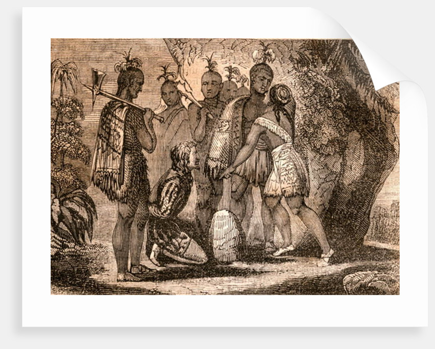 Pocahontas interceding for the life of Smith in 1607 by English School