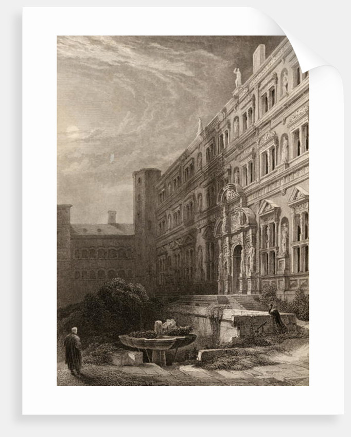 The great court of Heidelberg, engraved by H. Winkles, illustration from 'The Pilgrims of the Rhine' published 1840 by David Roberts