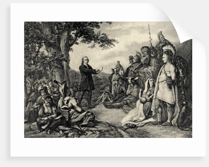 John Wesley preaching to the Indians in Georgia in 1736 by English School