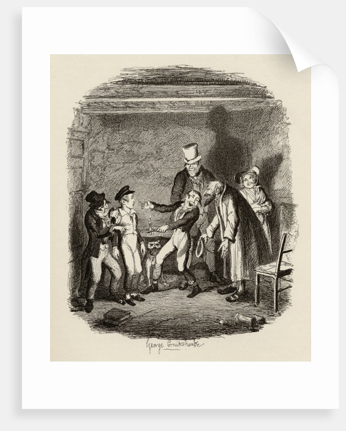 Oliver's reception by Fagin and the boys by George Cruikshank