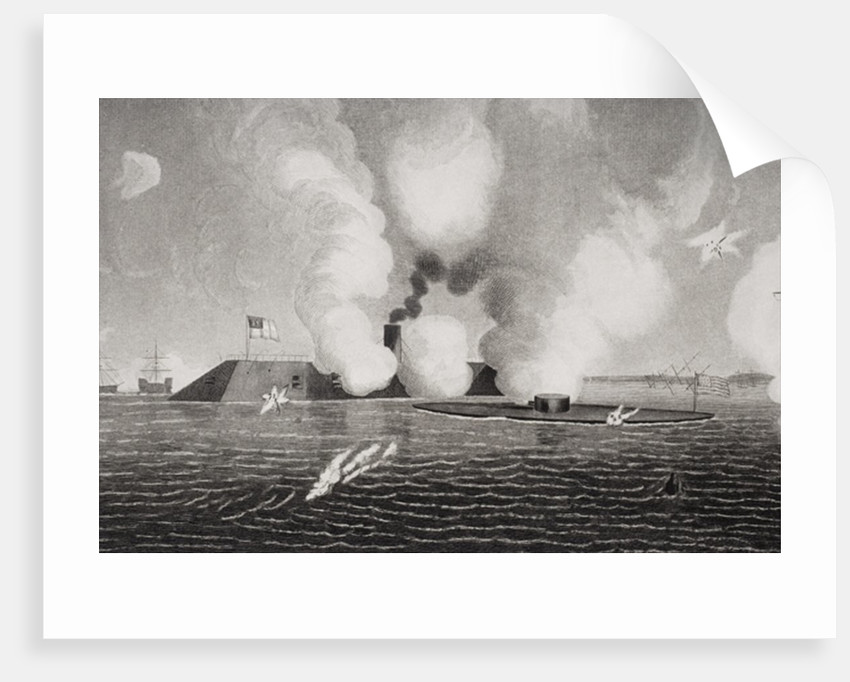 Combat between the Confederate CSS Virginia (left) and the Union USS Monitor (right) on March 9th 1862 at Hampton Roads, Virginia by American School