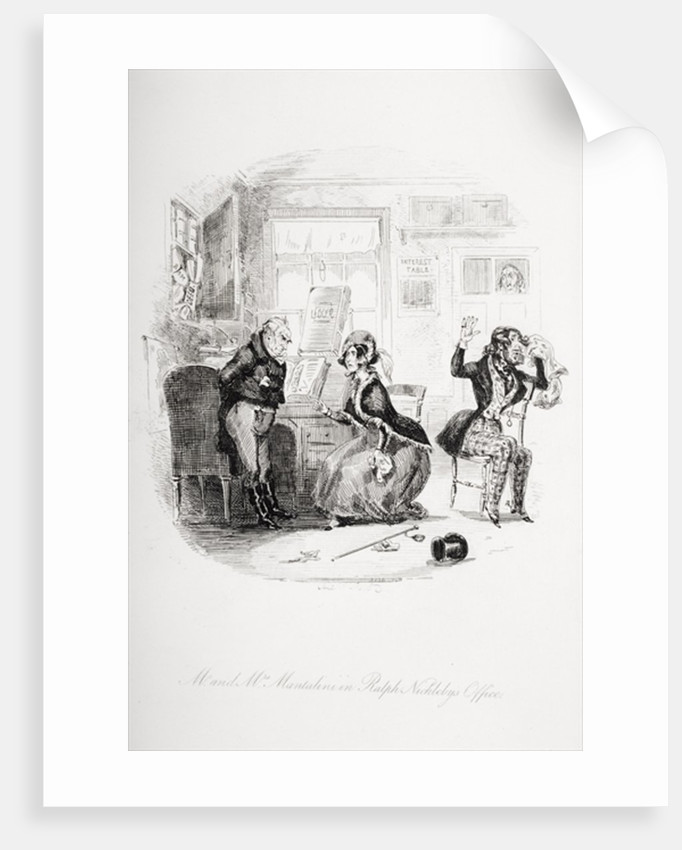 Mr. and Mrs. Mantalini in Ralph Nickleby's office Abetween Sir Mulberry and his pupil by Hablot Knight Browne