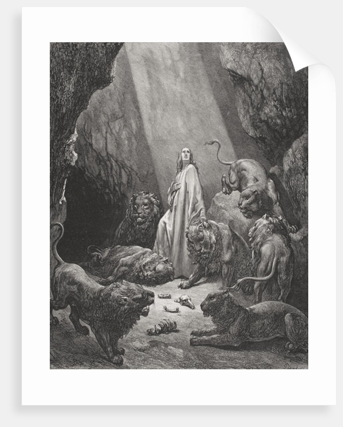 Daniel in the Den of Lions, Daniel 6:16-17 by Gustave Dore