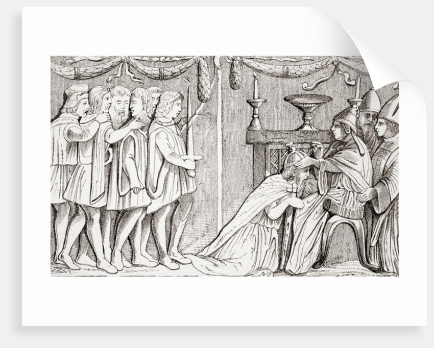 Crowning of Sigismund as Holy Roman Emperor by Pope Eugene IV in 1433 by French School