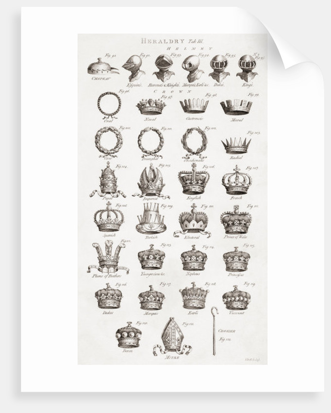 Crowns, coronets and helmets by Unknown artist
