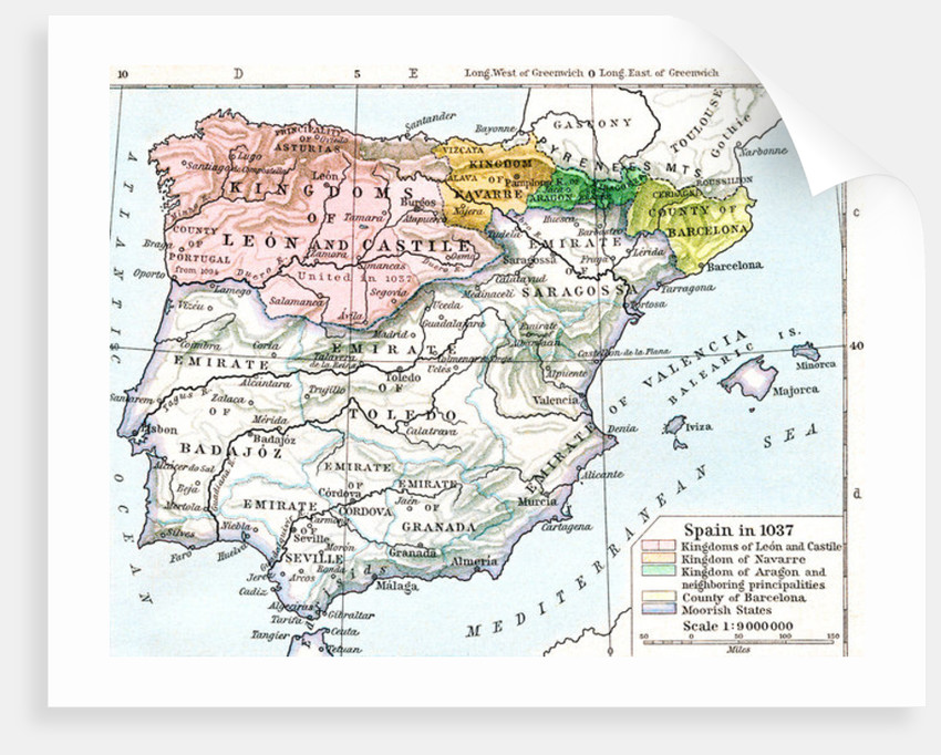 Map Of Spain With States.Map Of Spain In 1037 Showing The Kingdoms Of Leon And Castile Kingdom Of Navarre Kingdom Of Aragon And Neighbouring Principalities County Of