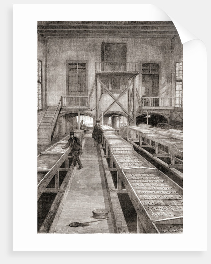 Interior of a 19th century fish farm in Huningue, France by French School