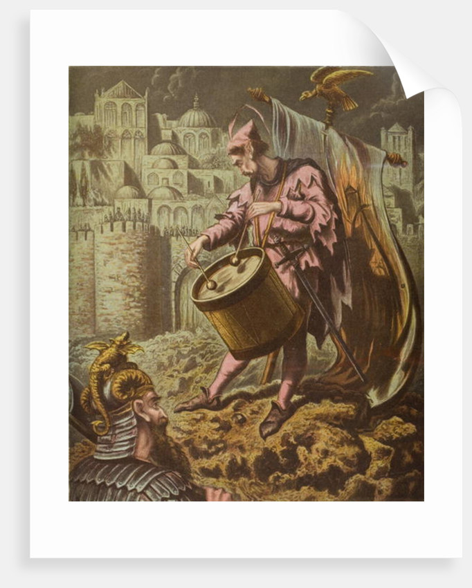 Diabolus's drummer before the walls of Mansoul by English School