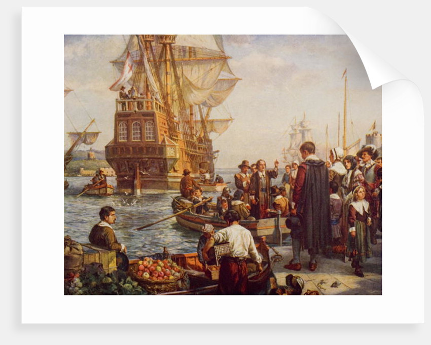 The Departure of the Pilgrim Fathers in 1620 by English School