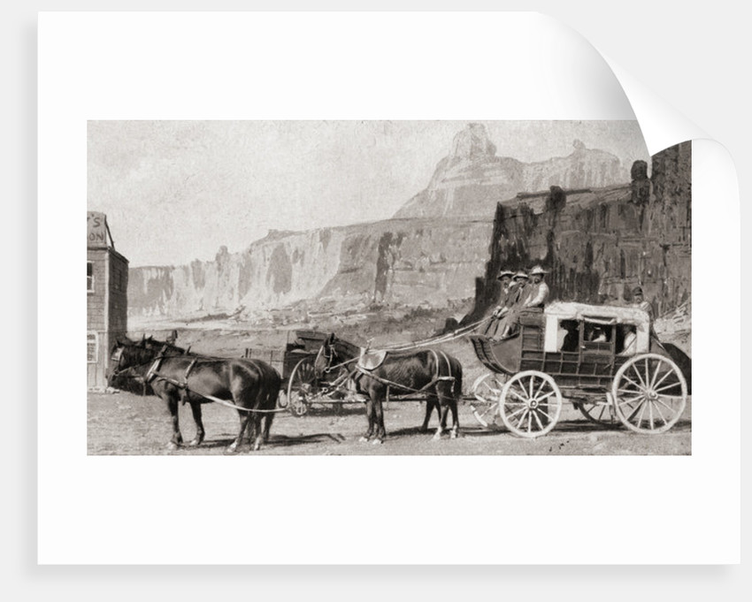 A mid 19th century American mail coach by Anonymous