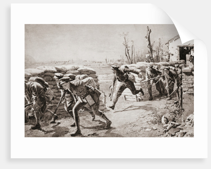 British troops taking a chance and making a dash for it crossing space controlled by enemy fire by Anonymous
