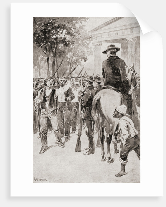 Allegorical image of a southern Negro slave, his chains broken, greeting President Abraham Lincoln during the American Civil War by Anonymous