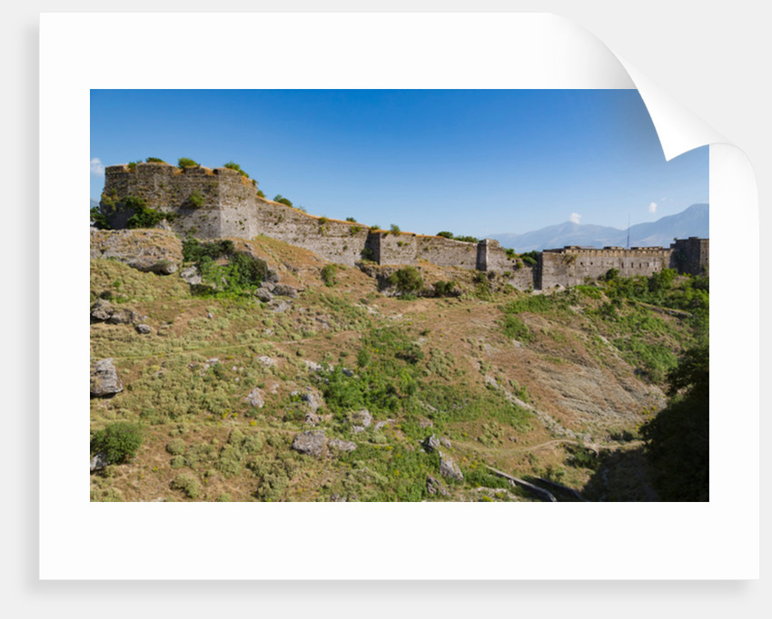 Gjirokastra or Gjirokaster: The Castle or Citadel with a suburb of the town to the left by Anonymous
