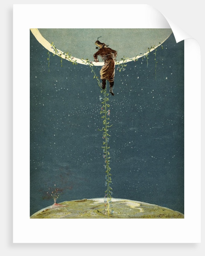 Baron Munchausen climbs up to the moon by way of a Turkey bean plant by Alphonse Adolphe Bichard