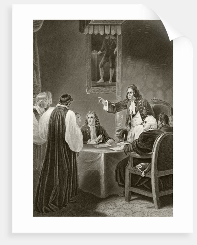 King James II of England facing bishops in the Privy Council, 1688 by English School