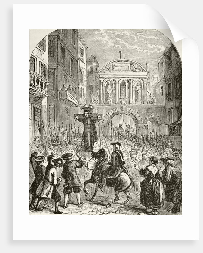 Daniel Defoe in the pillory at the Temple Bar by English School
