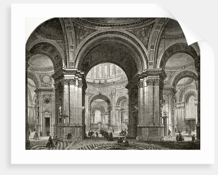 Interior of the Nave of St. Paul's Cathedral, looking east, as it would have been after Wren's first design by English School