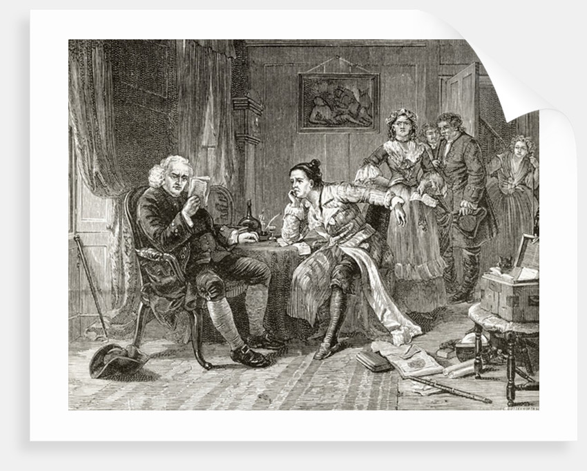 Dr Samuel Johnson reading the manuscript of 'The Vicar of Wakefield' by English School